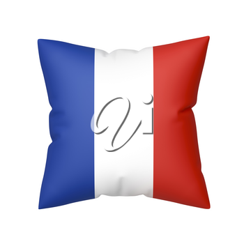 Pillow with the flag of France, isolated on white background