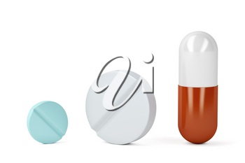 Pills and a capsule on white background