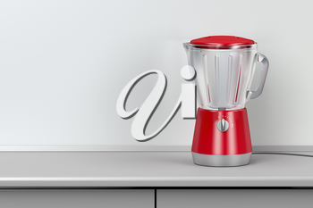 Red electric blender in the kitchen
