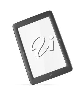 E-book reader with blank display on white background