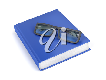 Blue book and glasses on white background