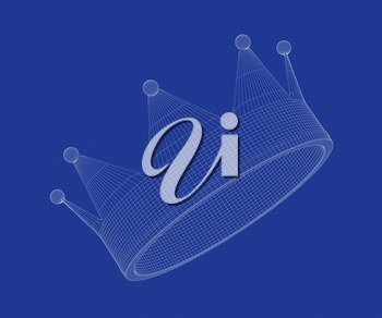 3d wire-frame model of crown on blue background