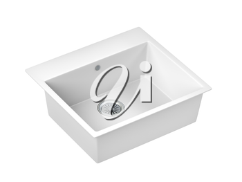 White composite sink isolated on white background