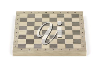 Wooden chess board on white background, front view