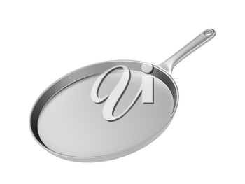 Stainless steel frying pan, isolated on white background