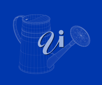 3d wire-frame model of watering can
