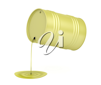 Pouring olive oil from the metal drum