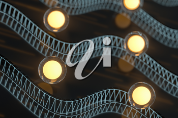 Glowing balls with abstract curve lines, 3d rendering. Computer digital drawing.