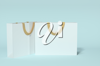 Paper shopping bag, product packaging, 3d rendering. Computer digital drawing.