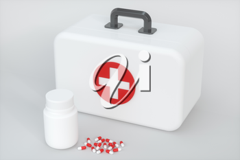 Medical kit and emergency medical equipment with white background,3d rendering. Computer digital drawing.