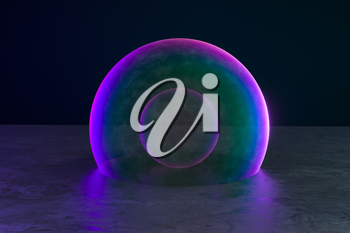 Purple bubble on the floor with dark background, 3d rendering. Computer digital drawing.