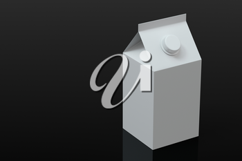 Blank milk box with black background, 3d rendering. Computer digital drawing.
