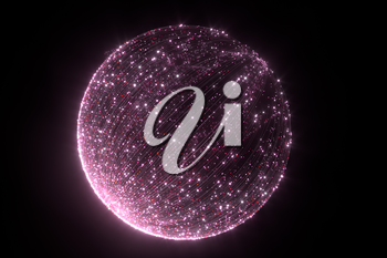 Glowing pink particles with trails, 3d rendering. Computer digital drawing.