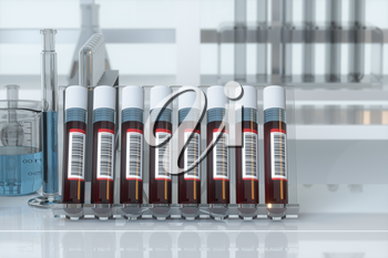 Blood test tubes with laboratory, 3d rendering. Computer digital drawing.