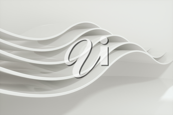 White curve surface, bright business background, 3d rendering. Computer digital drawing.