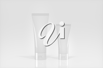 Blank cosmetic bottle with white background, 3d rendering. Computer digital drawing.