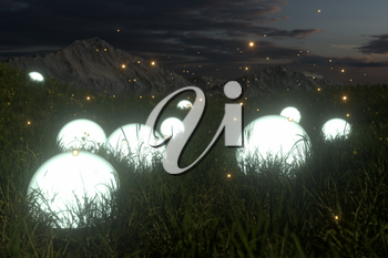 Glowing magic balls in the grass field, 3d rendering. Computer digital drawing.