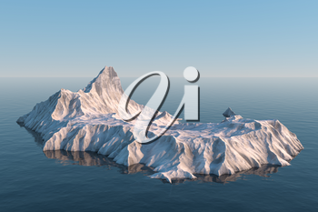 An island of snow mountain on the sea, 3d rendering. Computer digital drawing.