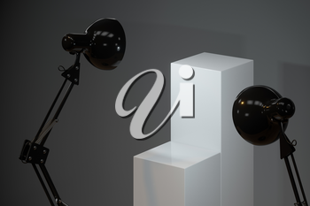 Decorative lamps with empty cube podium, 3d rendering. Computer digital drawing.