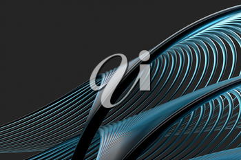 Abstract lines with black background, smooth polished lines, 3d rendering, Computer digital drawing.
