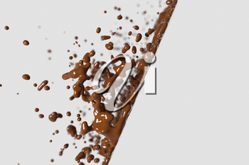 Splashing chocolate liquid with white background, 3d rendering. Computer digital drawing.