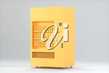 The orange model of vending machine with white background, 3d rendering. Computer digital drawing.