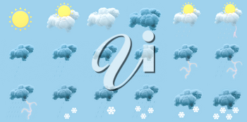 All kinds of weather conditions, weather forecast, 3d rendering. Computer digital drawing,