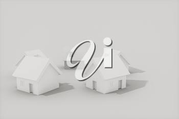 White small house model with white background, 3d rendering. Computer digital drawing.