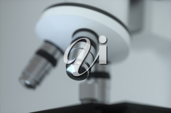 Microscope with white background,abstract conception,3d rendering. Computer digital drawing.