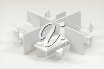 Office model with white background,abstract conception,3d rendering. Computer digital drawing.