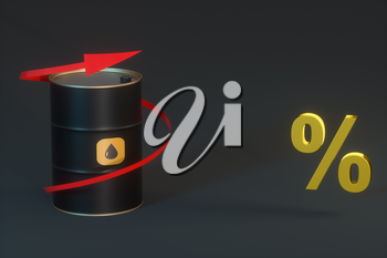 Oil barrel with black background,3d rendering. Computer digital drawing.