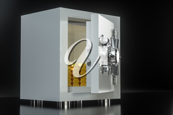 Mechanical safe, with gold bar inside, 3d rendering. Computer digital drawing.