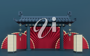 Empty marketing stage, Chinese style, 3d rendering. Translation: blessing. Computer digital drawing.