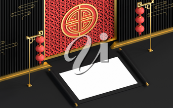 Blank Chinese ancient reel with festive background, 3d rendering. Computer digital drawing.