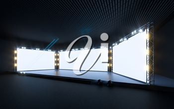 Exposition stage with blank billboard, 3d rendering. Computer digital drawing.
