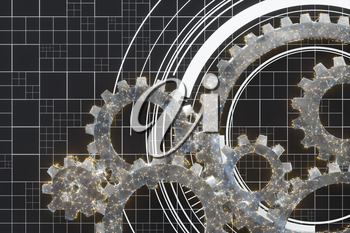 Mechanical gears and blueprint lines, 3d rendering. Computer digital drawing.
