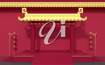 Chinese palace walls, red walls and golden tiles, 3d rendering. Translation: blessing. Computer digital drawing.