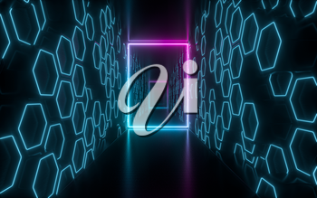 Dark tunnel with glowing neon lines, 3d rendering. Computer digital drawing.