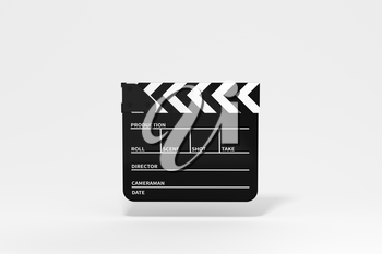 Clapper board with white background, 3d rendering. Computer digital drawing.
