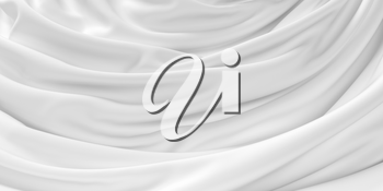 White pleated cloth background, 3d rendering. Computer digital drawing.