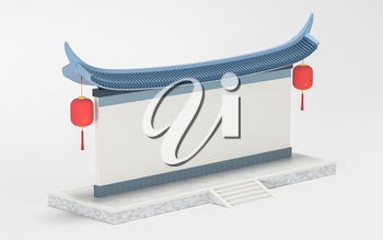 Empty signboard wall, Chinese retro style, 3d rendering. Computer digital drawing.