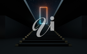 Large steps with glowing neon lines, 3d rendering. Computer digital drawing.