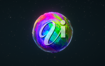 Colorful sphere with black background, 3d rendering. Computer digital drawing.