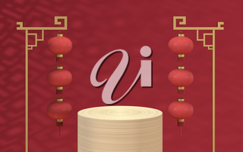 Empty wood stage with Chinese background, 3d rendering. Computer digital drawing.
