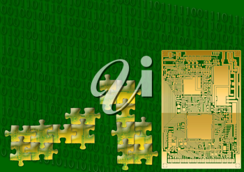 Royalty Free Clipart Image of a Circuit Board and Puzzle Pieces