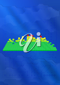 Royalty Free Clipart Image of an Equalizer Bar Graph Background