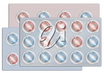 Royalty Free Clipart Image of a Multi-Coloured Package of Pills
