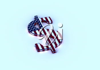 Dimensional sign of the American dollar in color national flag of USA. 3D render.