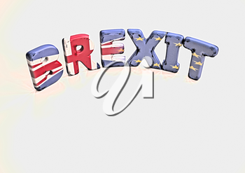 Glossy three-dimensional inscription Br Exit on dimensional background. 3D illustration.