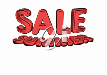 Dimensional inscription of Summer SALE and percents near it. 3D illustration.
